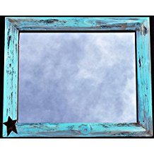 rustic-aqua-blue-mirror Beach Wall Decor