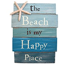 the-beach-is-my-happy-place-starfish-wooden-sign Beach Wall Decor