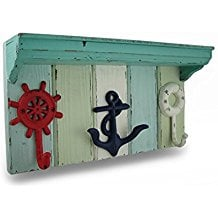 weathered-nautical-wall-hook-shelf Beach Wall Decor