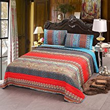 100-Cotton-3-Piece-Paisley-Boho-Quilt-Set Bohemian Bedding and Boho Bedding Sets
