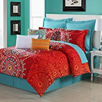 3-Piece-Red-Blue-Orange-Medallion-Theme-Comforter-King-Set Bohemian Bedding and Boho Bedding Sets