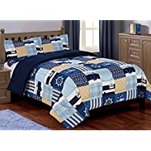 3-piece-boys-patchwork-anchor-quilt Nautical Bedding Sets & Nautical Bedspreads