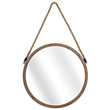 3122-Seafarer-Round-Porthole-Brown-Wood-Wall-Mirror-with-Twisted-Jute-Rope-Hanger Rope Mirrors and Rope Hanging Mirrors