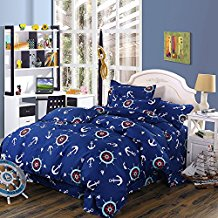 4pc-navy-blue-anchor-theme-duvet-cover-set Anchor Bedding Sets and Anchor Comforter Sets