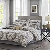 9-Piece-Light-Grey-Medallion-Comforter-Queen-Set-Beautiful-All-Over-Bohemian-Boho-Chic Bohemian Bedding and Boho Bedding Sets