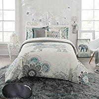 Anthology-Boho-Chic-Elephant-White-Floral-Bedding Bohemian Bedding and Boho Bedding Sets