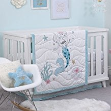 Ariel-The-Little-Mermaid-Blue-3pc-Crib-Bedding-Set Nautical Crib Bedding and Beach Crib Bedding