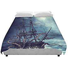 Artsadd-Night-Scene-With-A-Pirate-Ship-Pulled-Into-Water-B-Duvet-Cover Pirate Bedding Sets and Pirate Comforter Sets
