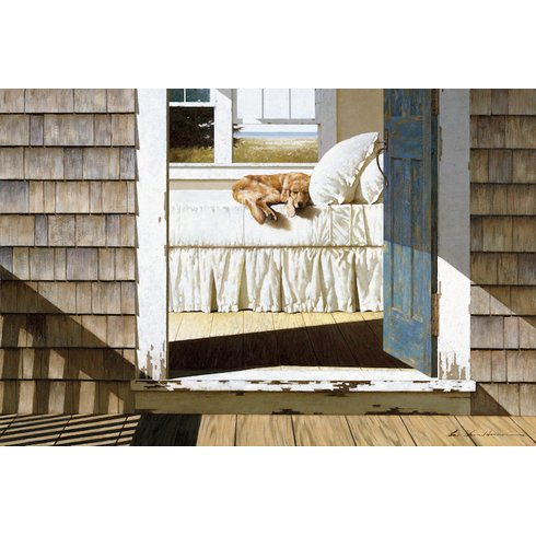 Beach-House-Dog-Painting-Print-on-Wrapped-Canvas Beach Paintings and Coastal Paintings