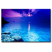 Blue-Sea-At-Dusk-Beach-Oil-Paintings Beach Paintings and Coastal Paintings