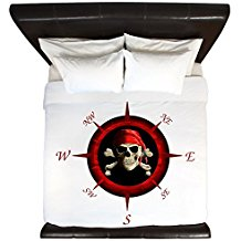 CafePress-Pirate-Compass-Rose-King-Duvet-Cover 100+ Nautical Duvet Covers and Nautical Coverlets For 2020