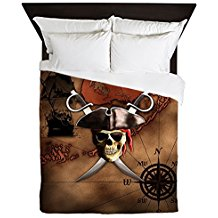 CafePress-Pirate-Map-Queen-Duvet-Cover 100+ Nautical Duvet Covers and Nautical Coverlets For 2020