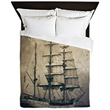 CafePress-Vintage-Pirate-Ship-Landscape-Queen-Duvet-Cover Pirate Bedding Sets and Pirate Comforter Sets