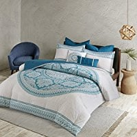 Coletta-Comforter-Set-Aqua-FullQueen Bohemian Bedding and Boho Bedding Sets