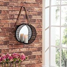 Danya-B.-Round-Mirror-Pillar-Candle-Sconce-with-Filigree-Metal-Frame-and-Hanging-Rope Rope Mirrors and Rope Hanging Mirrors