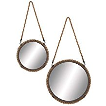 Deco-79-Metal-Frame-Mirror-Set-of-2 Rope Mirrors and Rope Hanging Mirrors