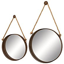 Deco-79-Nautical-Decor-Looking-Glass-Ocean-Porthole-Mirror-Set Rope Mirrors and Rope Hanging Mirrors