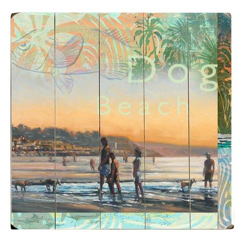 Dog-Beach-Graphic-Art-on-Wood Beach Paintings and Coastal Paintings