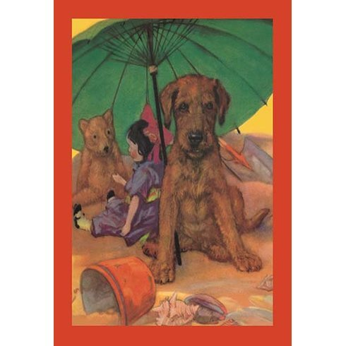 Dog-on-a-Beach-by-Diana-Thorne-Framed-Painting-Print Beach Paintings and Coastal Paintings