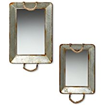 Foreside-78236-Rectangular-Galvanized-Mirror-Trays-with-rope Rope Mirrors and Rope Hanging Mirrors