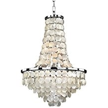 Glow-Lighting-636CD19SP-Vista-Crystal-Flush-Mount Capiz Shell Chandeliers