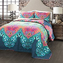 Lush-Decor-3-Piece-Boho-Chic-Quilt-Set-FullQueen-TurquoiseNavy Bohemian Bedding and Boho Bedding Sets