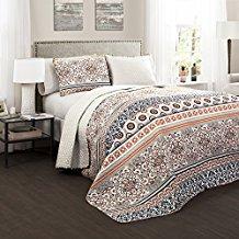 Lush-Decor-3-Piece-Nesco-Quilt-Set-FullQueen-NavyCoral Bohemian Bedding and Boho Bedding Sets