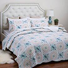 Printed-Quilt-Coverlet-Set-FullQueen8622x9622-Blue-Aqua-Boho Bohemian Bedding and Boho Bedding Sets