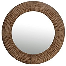 Privilege-88396-Round-Rope-Beveled-Coastal-Mirror-Brown-Medium Rope Mirrors and Rope Hanging Mirrors