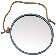 Round-Metal-Framed-Nautical-Porthole-Wall-Mirror-with-Jute-Rope-Hanger-and-Distressed-Finish Rope Mirrors and Rope Hanging Mirrors