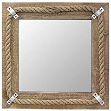 Stonebriar-Square-Wooden-Mirror-with-Nautical-Rope-Detail Rope Mirrors and Rope Hanging Mirrors