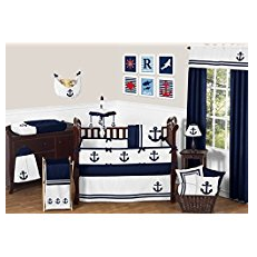 Sweet-Jojo-Designs-Anchors-Away-Nautical-Navy-and-White-Boys-Baby-Bedding-9-Piece-Crib-Set Anchor Bedding Sets and Anchor Comforter Sets