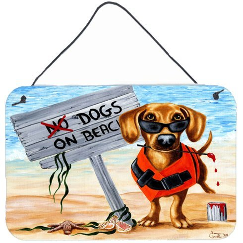 The-Dog-Beach-Dachshund-by-Tanya-and-Craig-Amberson-Painting-Print-Plaque Beach Paintings and Coastal Paintings