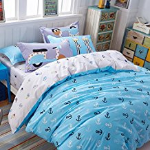 TheFit-Paisley-white-light-blue-anchor-duvet-cover Nautical Bedding Sets & Nautical Bedspreads