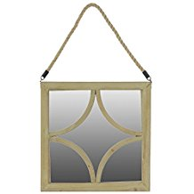 Urban-Trends-37047-Wooden-Square-Mirror-with-Rope-Hanger Rope Mirrors and Rope Hanging Mirrors