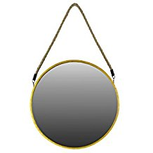 Urban-Trends-Metal-Round-Mirror-with-Rope-Hanger-Large-Antique-Gold Rope Mirrors and Rope Hanging Mirrors