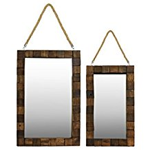 Urban-Trends-Wood-Rectangular-Mirror-with-Rope-Hanger Rope Mirrors and Rope Hanging Mirrors