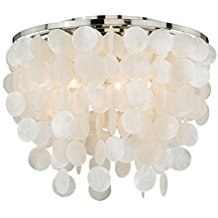Vaxcel-C0079-Elsa-Capiz-Shell-Flush-Mount-1622-Satin-Nickel-Finish-250 Capiz Shell Chandeliers