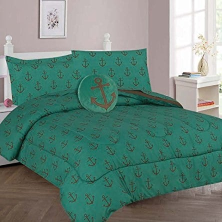 anchor-green-print-comforter-tf Nautical Bedding Sets & Nautical Bedspreads