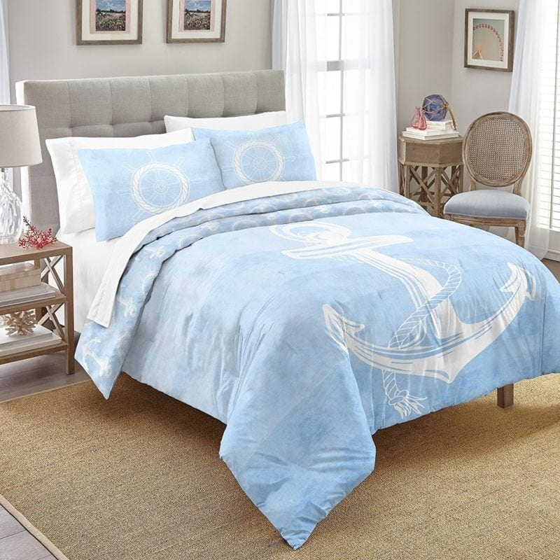 aqua-anchor-comforter-set-tfqk-800x800 Nautical Bedding Sets & Nautical Bedspreads