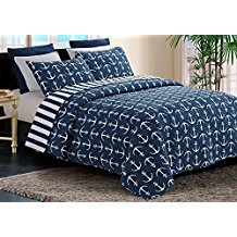 by-the-seashore-yacht-club-anchor-navy-white-quilt Nautical Bedding Sets & Nautical Bedspreads