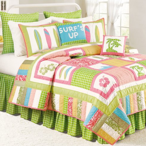 c-and-f-home-surf-up-pink-green-quilt Surf Decor & Surfboard Decorations