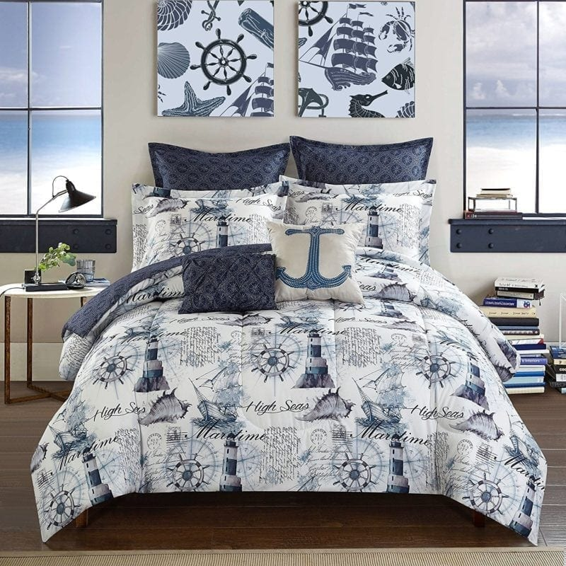 casa-nautical-7-piece-comforter-set-800x800 Nautical Bedding Sets & Nautical Bedspreads