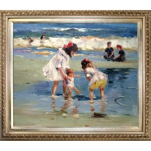 children-playing-at-the-seashore-artwork-framed Beach Paintings and Coastal Paintings