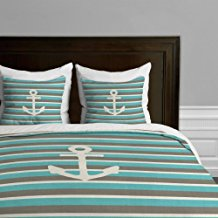 deny-designs-green-anchor-striped-duvet-cover-set Nautical Bedding Sets & Nautical Bedspreads