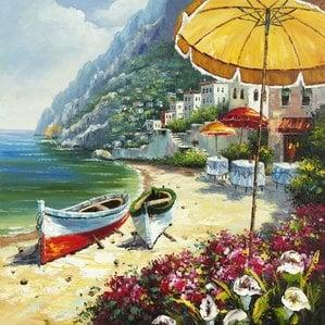 european-shoreline-oil-painting Beach Paintings and Coastal Paintings