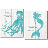 inspirational-mermaid-octopus-print-set Mermaid Wall Art and Mermaid Wall Decor