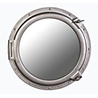 large-silver-porthole-mirror 100+ Porthole Themed Mirrors For Nautical Homes For 2020