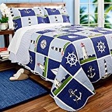 lighthouse-sailboat-anchor-quilt-set Nautical Bedding Sets & Nautical Bedspreads
