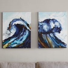 liquid-waves-painting-dual-canvas Beach Paintings and Coastal Paintings